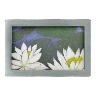 Flores brancas de Waterlily, pintura acrílica