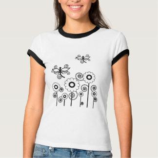 Flores brancas e camisa das libélulas tshirts