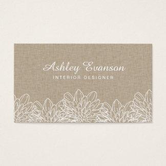 Flores brancas elegantes florais de linho rústicas cartão de visitas