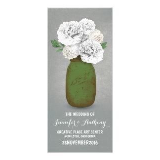 Flores brancas pintadas de frasco de pedreiro que 10.16 x 22.86cm panfleto