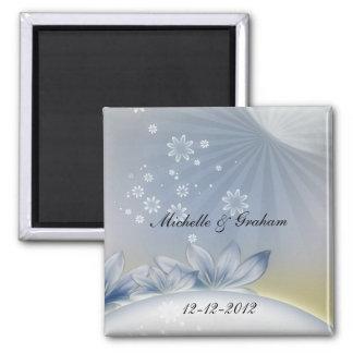 Flores brancas que Wedding o ímã da lembrança Ímã Quadrado