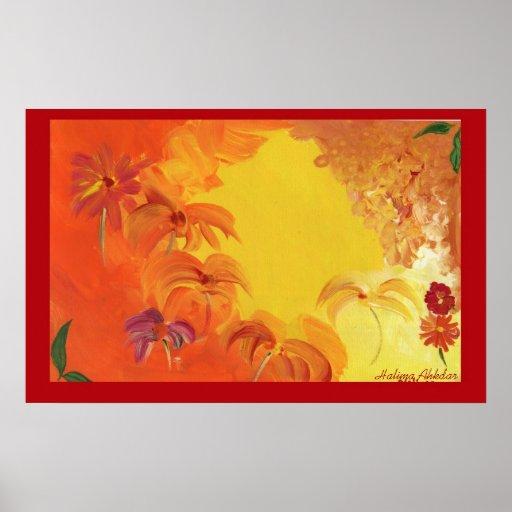 Flores brilhantes abstratas #4 Halima Ahkdar Posteres