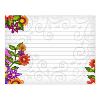 Flores brilhantes do cartão da receita do