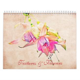 Flores & calendário floral da arte das texturas