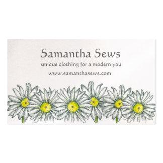 Flores caneta da margarida branca e desenho da cartão de visita