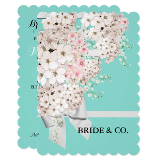 Flores & cartão azul do partido de Tiffany da