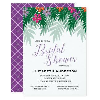 Flores & chá de panela tropicais do ramo da palma convite 12.7 x 17.78cm