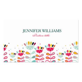 Flores coloridas bonitos dos desenhos animados cartão de visita