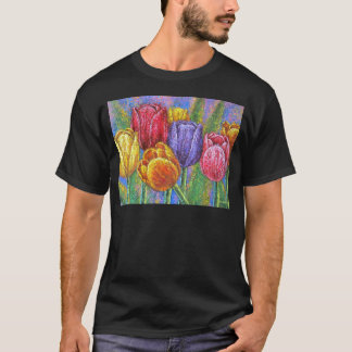 Flores coloridas das tulipas que pintam a arte camiseta