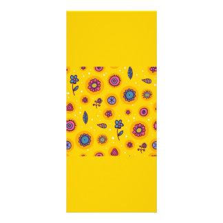 flores coloridas dos desenhos animados do bonito-s 10.16 x 22.86cm panfleto