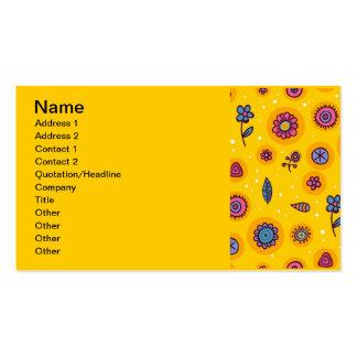 flores coloridas dos desenhos animados do bonito-s cartão de visita
