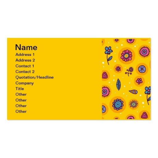 flores coloridas dos desenhos animados do bonito-s cartao de visita