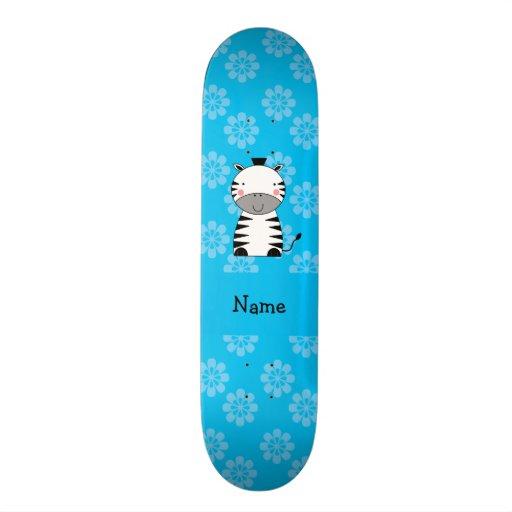 Flores conhecidas personalizadas do azul da zebra skate