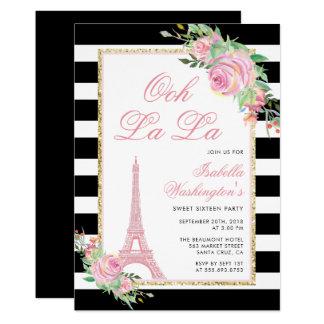 Flores & convite de aniversário da torre Eiffel