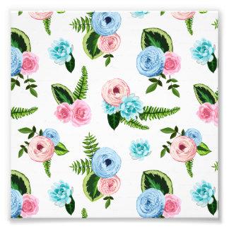 Flores cor-de-rosa azuis de X em #2 branco Impressão De Foto