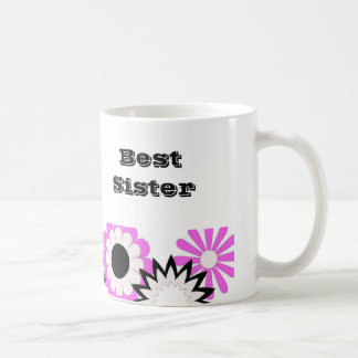 Flores cor-de-rosa, brancas & pretas, caneca da