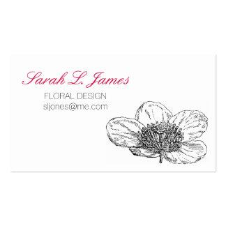 Flores cor-de-rosa brilhantes do desenho floral do cartão de visita