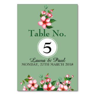 Flores cor-de-rosa & cartão da mesa verde