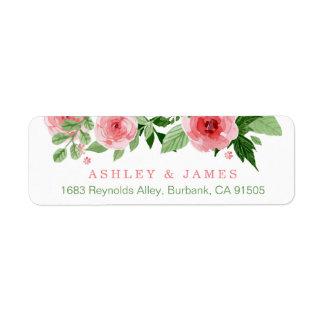 Flores cor-de-rosa da natureza do jardim da etiqueta endereço de retorno