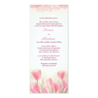Flores cor-de-rosa das tulipas que Wedding o Convite 10.16 X 23.49cm