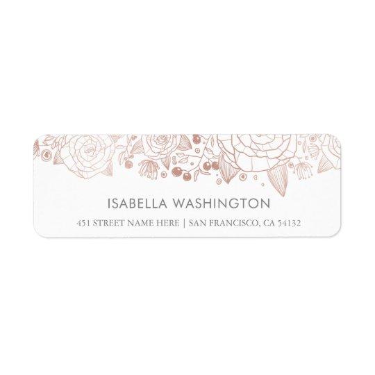 Flores cor-de-rosa do chique do ouro & do branco   etiqueta endereço de retorno