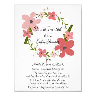 Flores cor-de-rosa do coral cor-de-rosa, chá de convite 10.79 x 13.97cm