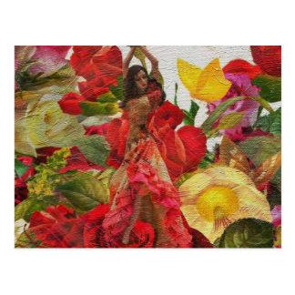 Flores cor-de-rosa do dançarino espanhol cartão postal