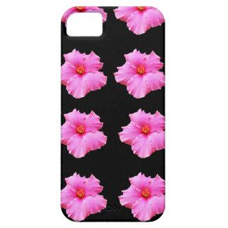 Flores cor-de-rosa do hibiscus no preto, _ capa para iPhone 5