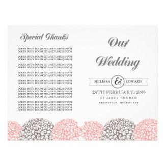Flores cor-de-rosa do vintage que Wedding a brochu Panfletos