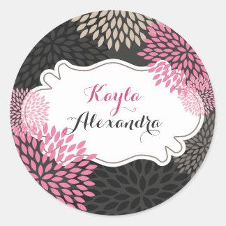 Flores cor-de-rosa doces - etiqueta do círculo
