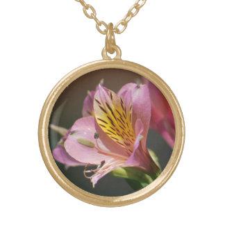 Flores cor-de-rosa e significado do lírio do Inca Colar Com Pendente Redondo