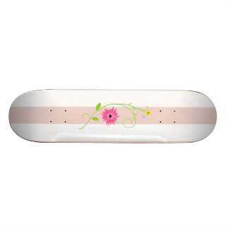 Flores cor-de-rosa femininos e listras shape de skate 20cm