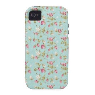 Flores cor-de-rosa gastos azuis dos rosas florais  capinhas iPhone 4/4S