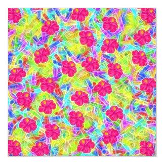 Flores cor-de-rosa havaianas convite quadrado 13.35 x 13.35cm