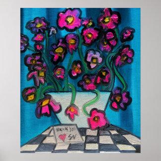 Flores cor-de-rosa na bacia branca pôster