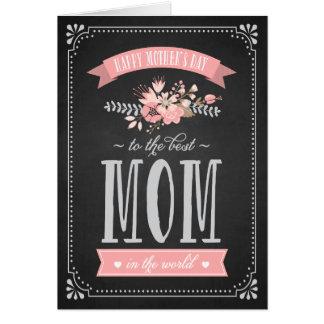 Flores cor-de-rosa no cartão do dia das mães do