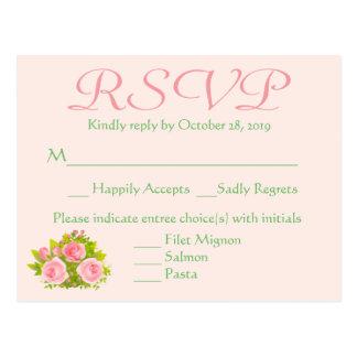 Flores cor-de-rosa rosa e RSVP Wedding floral Cartão Postal