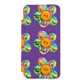 Flores cor-de-rosa, roxas, amarelas na violeta capa carteira incipio watson™ para iPhone 5