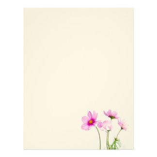 Flores cor-de-rosa simples papel timbrado