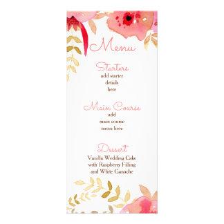 Flores corais dos rosas da aguarela que Wedding o Panfleto