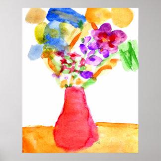 Flores da aguarela poster