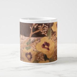Flores da caneca de café com um registro