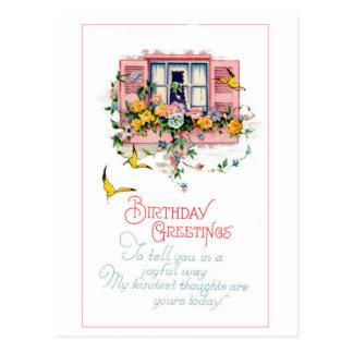 Flores da janela dos cartões de aniversários do