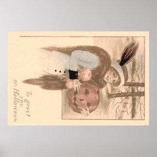 Flores da lanterna de Jack O da mulher Poster