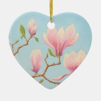 Flores da magnólia na flor, feliz aniversario ornamento de cerâmica coração