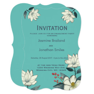 Flores da magnólia, vintage moderno pintado floral convite 12.7 x 17.78cm