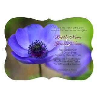 Flores da papoila azul convite 12.7 x 17.78cm