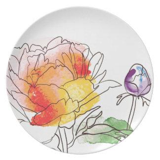Flores da peônia da aguarela prato de festa