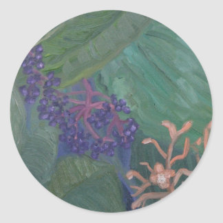 Flores da selva adesivos redondos