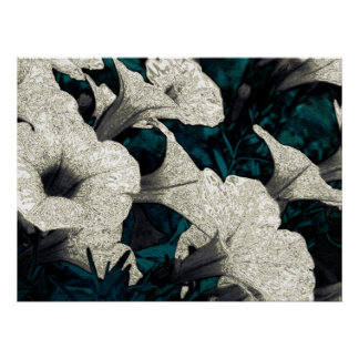 Flores da tapeçaria: O preto, o branco, & a cercet Pôsteres